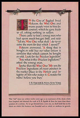 Pharmaceuticals ER Squibb Ideals 1934 Print Ad Chemists Honor Integrity Bagdad Scroll