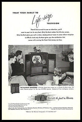 Dumont Life Size Television TV Ad 1950 Family Gathered Around TV Set Advertising