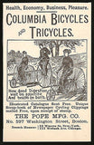 Bicycles Tricycles AD 1886 Columbia Pope Mfg Boston Ride Action Illustrated AD