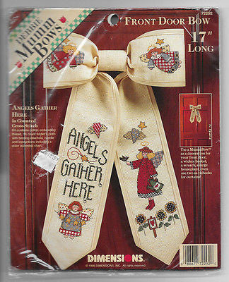 Debbie Mumm Cross Stitch Kit Angels Gather Here Front Door Bow