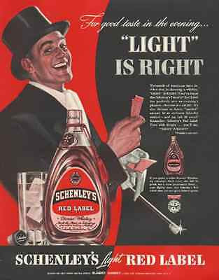 Gent Top Hat Tickets Schenley Light RED Label 1939 AD