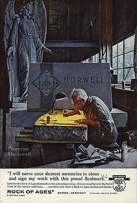 Gravestone Carver AD Artist Angel Wings 1963 Rock of Ages Advert Norman Rockwell