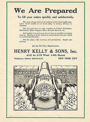 Cannon 1917 Ad Henry Kelly & Sons Chelsea NY Vegetables - Paperink Graphics