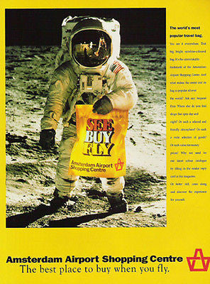 Astronaut Spaceman Moon Amsterdam Airport Yellow Bag 1991 Graphic Art Ad - Paperink Graphics