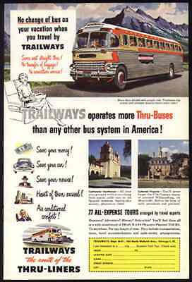 Bus Trailways 1951 AD Streamliner Bus Cream Crimson Luxury Liner Thru-Liners - Paperink Graphics