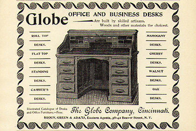 Desk 1894 Ad Globe Roll Top Graphics Featured Styles Woods List - Paperink Graphics