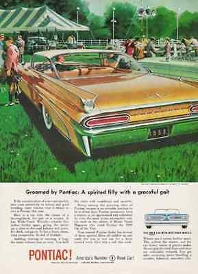 Pontiac Equestrian Ad Car of the Year 1959 Print AD Wide Track Wheels Fins