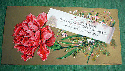 Antique Art Card Floral Victorian Trade Card Fine Boots Shoes E.H. Dunbar Lynn MA