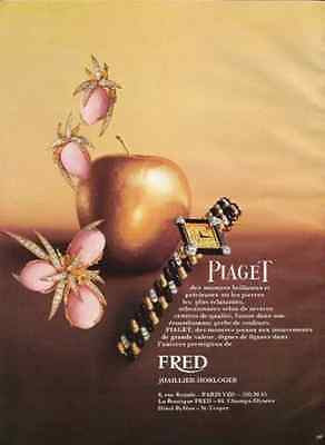 Piaget Watch AD Earrings Broach 1974 Golden Apple Jewelry Advertisement