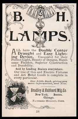 Bradley & Hubbard Lamp Wall Light Gas Electric 1893 AD - Paperink Graphics