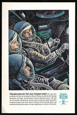 Moon Space Flight Powered by  Pratt & Whitney Fuel Cell 1963 Print Ad