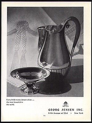 Georg Jensen AD Sterling Silver Pitcher 1949 Advertisement Bride Wedding Gift - Paperink Graphics