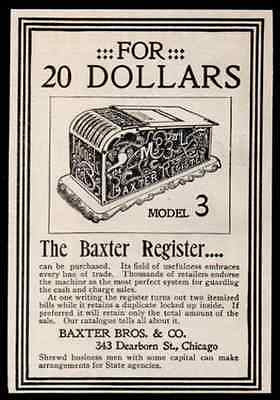Baxter Register Machine Merchants Retailers 1896 Antique Ad Business Retail