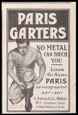 Handsome Muscle Man Models Mens Paris Garters 1911 AD - Paperink Graphics