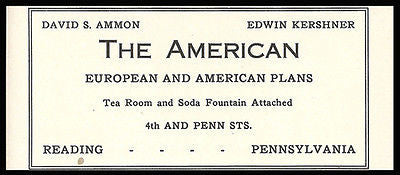 American Hotel Ad Reading Pennsylvania Turnpike 1926 Tea Room Soda Fountain - Paperink Graphics