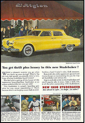 1950 Studebaker Land Cruiser American Automobile Ad Sleek White Wall Tires