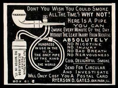 Pipe No Nicotine No Water Smoke All the Time Pocket Tank Oak Park IL 1907 AD - Paperink Graphics