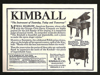Kimball Grand Piano Favored by Opera Stars 1924 AD