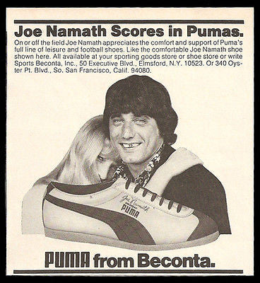 Joe Namath Photo Illustration Ad 1973 Puma Shoes Leisure Football Sports
