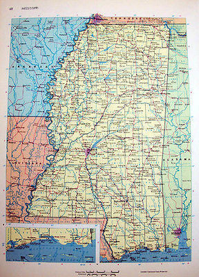 Mississippi Vintage Map 1964 Cosmo Series Rand McNally Wall Art
