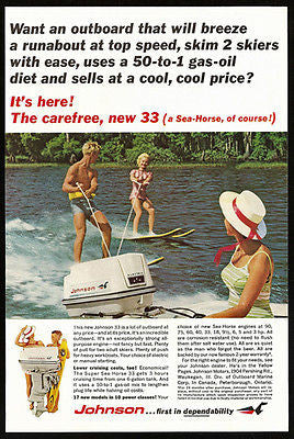 Water Skiing Johnson Sea Horse 33 Ad Outboard Motor Photo 1965 AD