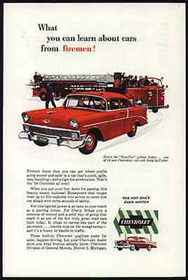 Fire Car Firemen Chevrolet 1956 Chevy Ad Red Sedan GM Motos Magazine Advert