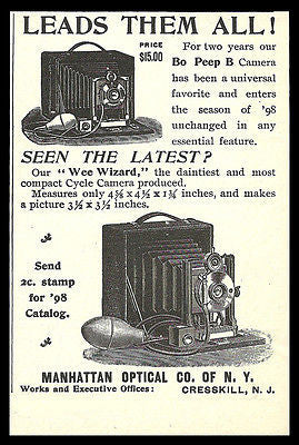 1898 Manhattan Optical Camera AD Bo Peep B Camera AD Wee Wizard Cycle - Paperink Graphics