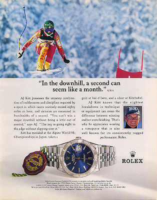 AJ Kitt Champion Skier Alpine Racer Rolex Watch 1995 Ad - Paperink Graphics