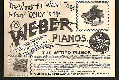 Weber Pianos Grand Upright Musical Instrument 1894 AD