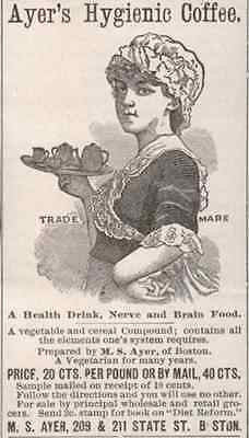 Waitress Serves Ayer's Hygienic Coffee 1896 AD Vegetable Cereal Health Drink