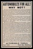 Automobile Topics AD 1902 Yearly Subscription $4.00 Follow Automobile Progress