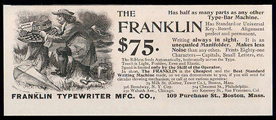 Ben Franklin Typewriter 1893 Kite Key Electricity Antique Graphic Arts Ad - Paperink Graphics