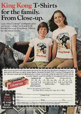 King Kong Magazine AD for T Shirts 1977 Vintage Promotion Offer Toothpaste AD