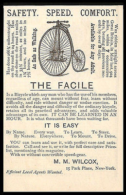 Bicycle AD 1885 The Facile British Import MM Wilcox NY Adult Fast Easy Safe Ride - Paperink Graphics