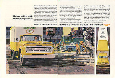 Chevrolet Delivery Truck 2 page AD 1959 R. Burdzinski Artist Advertising Artwork - Paperink Graphics
