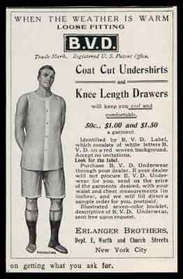 BVD Underwear Ad 1907 Mens Antique Fashion Ad - Paperink Graphics