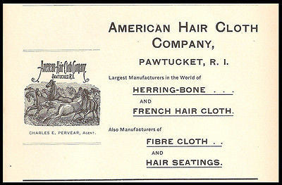 Antique 1898 Ad American Hair Cloth Manufacturing Pawtucket RI Fiber Textiles Industry