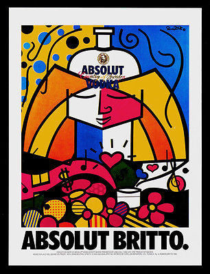 Absolut Britto AD 1990 Vodka Liquor Distillery Romero Britto Advertising Art