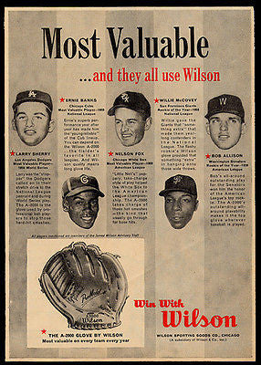Wilson Glove Vintage Ad 1960 Most Valuable Baseball Players