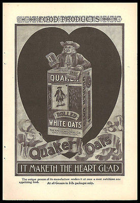 Antique Quaker Oats Huge HEART 1897 Health Cereal Ad