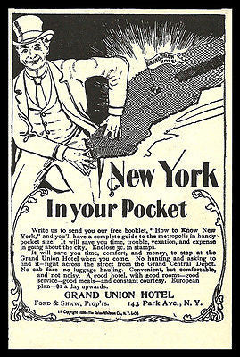 Grand Union Hotel Map AD 1898 Manhatten NYC Pocket Map Provided Illustrated AD