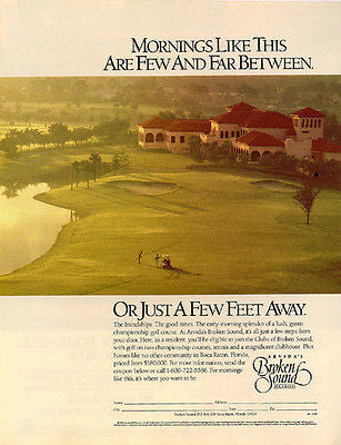 Arvida Broken Sound Golf Course Boca Raton Florida 1989 Golfing Ad