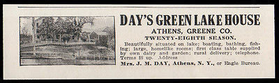 Athens 1915 Day's Green Lake House Greene County NY Hotel Telephone Photo AD - Paperink Graphics