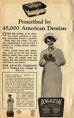 Nurse Uniform Anacin 1929 Ad Dentist Nursing Medical Packaging