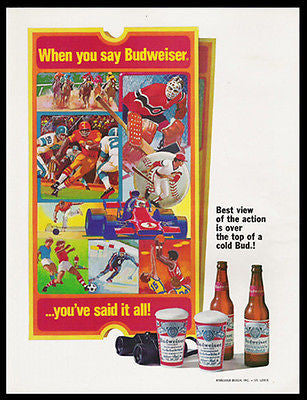Budweiser Action Tickets Binoculars Cold Bud Sports 1975 Ad