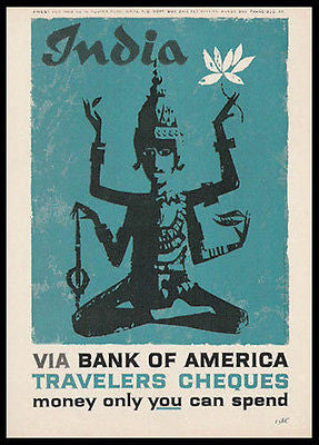 India Hindu Goddess  Woodcut Style 1959 Print Ad - Paperink Graphics