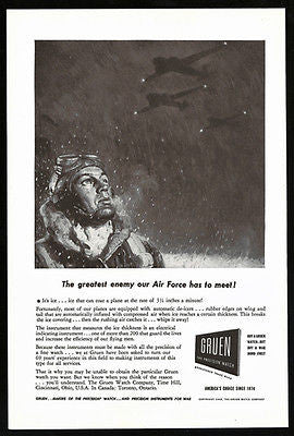 Gruen Watch Develops Ice Instruments for War Plane Aviation 1943 Photo Ad - Paperink Graphics