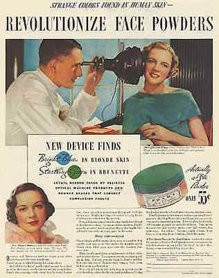 1934 Ponds Face Powder Cream Ad Odd Medical Device New Skin Viewer - Paperink Graphics
