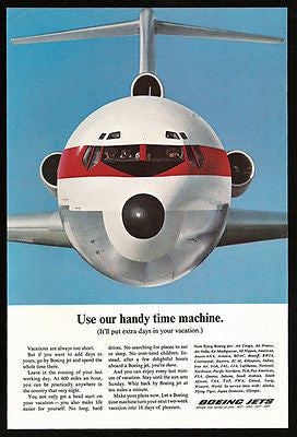 Boeing Jets Time Machine 600 MPH Saves Vacation Time Aviation 1965 Photo Ad