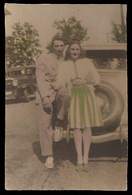 Antique Color Tinted Photograph Classic Automobile Photo Smartly Dressed Man Woman Couple - Paperink Graphics
